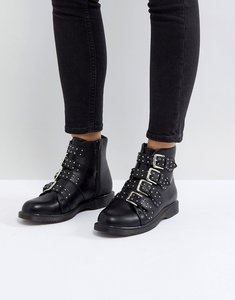 Read more about Truffle collection buckle ankle boots - black smooth pu