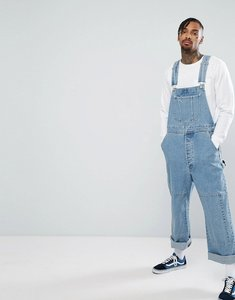 Read more about Asos skater dunagree in light wash with knee patches - light wash blue