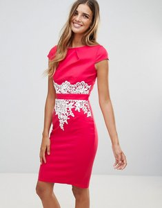 Read more about Paper dolls lace detail dress - coral
