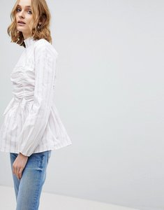 Read more about Lost ink high neck blouse with gathered tie front in stripe - white
