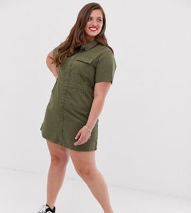 Read more about Urban bliss plus utility mini dress with neck tie detail