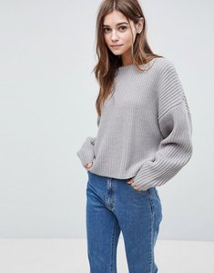 Read more about Asos design chunky jumper in crop with volume sleeve - grey