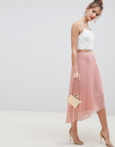 Read more about Asos design dobby pleated high low midi skirt with pintuck detail - nude