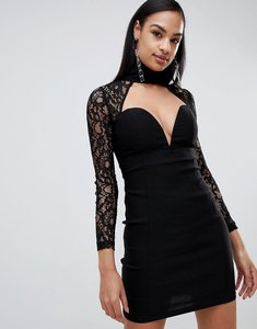 Read more about Rare london high neck sweetheart lace dress - black