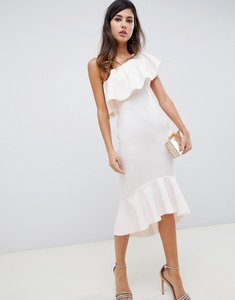 Read more about Asos design one shoulder ruffle midi bodycon dress - blush
