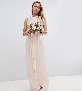 Read more about Tfnc petite maxi bridesmaid dress with soft floral sequin top - nude