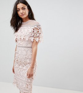 Read more about Chi chi london tall lace high neck pencil midi dress - soft blush