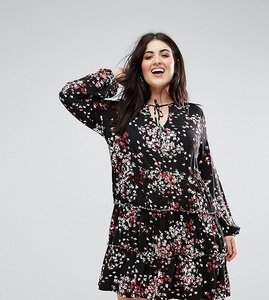 Read more about Asos curve v neck smock dress with balloon sleeve in floral print - floral print