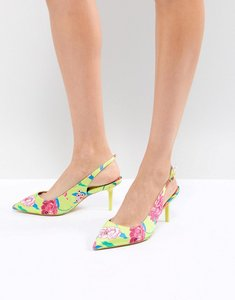 Read more about Aldo kitten heel sling back shoe in bright yellow floral - green multi