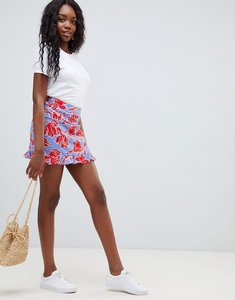 Read more about Glamorous floral print skirt with frill hem - blue red flo
