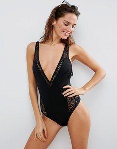 Read more about Asos scuba leopard mesh insert lattice leg swimsuit - black