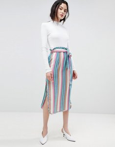 Read more about Asos design midi skirt with tie waist in stripe - multi