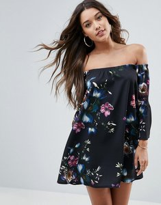 Read more about Asos off shoulder dress with bell sleeve in dark based floral print - dark based floral
