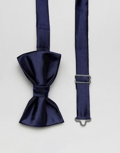 Read more about Devils advocate plain navy satin bow tie - navy