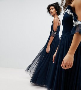 Read more about Maya cold shoulder sequin detail tulle maxi dress with ruffle detail - navy