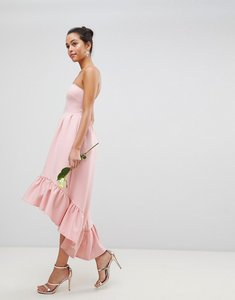 Read more about Club l bandeau drop hem frill maxi dress - dusty pink