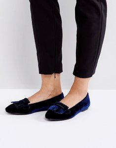 Read more about London rebel fringe flat slipper with buckle - navy velvet