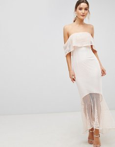 Read more about C by cubic lace bandeau fishtail maxi dress with frill overlay - peach melba