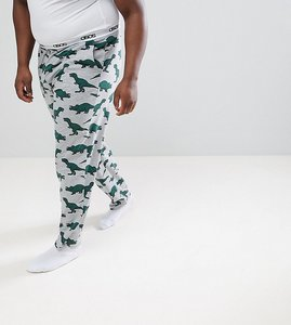 Read more about Asos design plus pyjama bottoms with dinosaur print - grey marl