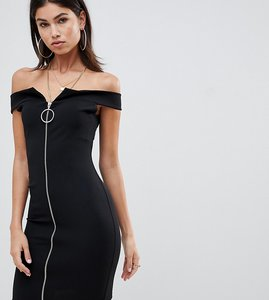 Read more about Missguided bardot zip front dress - black