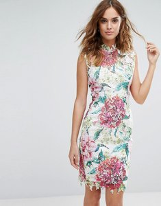 Read more about Paper dolls high neck premium lace midi dress in overscale floral - mutli pink floral
