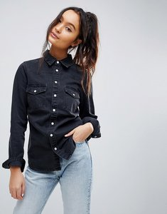 Read more about Asos design denim fitted western shirt in washed black - washed black