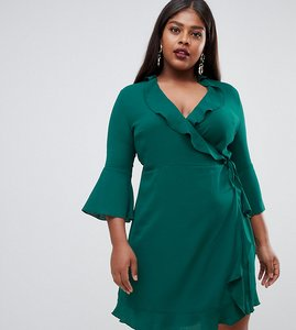 Read more about Outrageous fortune plus ruffle wrap dress with fluted sleeve in green - emerald green