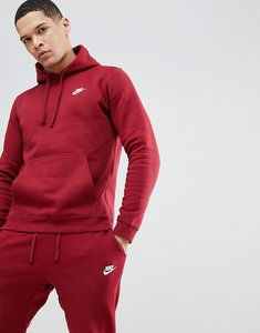 Read more about Nike club fleece pullover hoodie in red 804346-677 - red