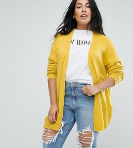 Read more about Asos curve cardigan in fine knit fluffy yarn - yellow