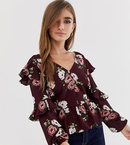 Read more about Miss selfridge petite floral print ruffle sleeve top - multi
