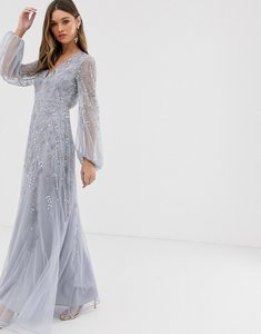 Read more about Asos design maxi dress with blouson sleeve and delicate floral embellishment