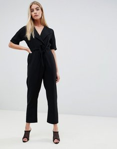 Read more about Asos design wrap jumpsuit with self belt - black