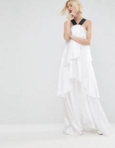 Read more about Asos white layered frill maxi dress with strap detail - white