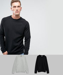 Read more about Asos sweatshirt 2 pack grey marl black save - grey marl black