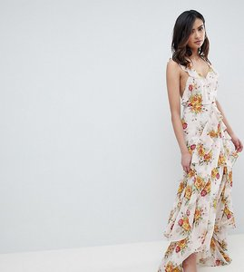 Read more about Asos design tall ruffle maxi dress in rose floral print - multi