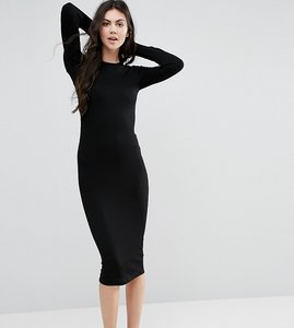 Read more about Asos tall midi bodycon dress in rib with long sleeves - black