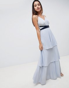 Read more about Asos design tiered pleated maxi dress - pale blue