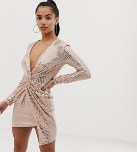 Read more about Flounce london petite twist front mini dress in glitter