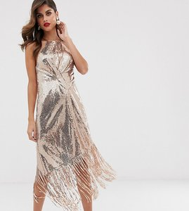 Read more about Asos design midi dress in allover sequin with fringe hem