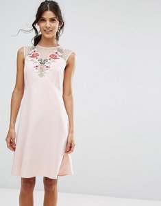 Read more about Elise ryan a line dress in mesh and floral applique - pink