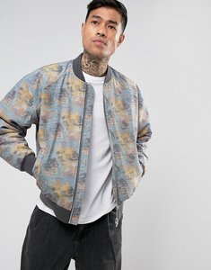 Read more about Asos bomber jacket with retro print in grey - light grey