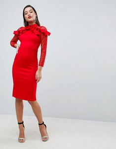 Read more about Asos premium midi pencil dress with mesh and frill details - red
