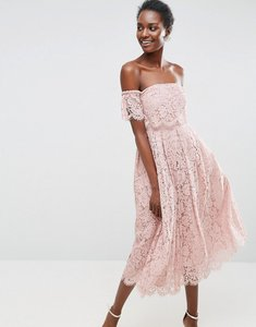 Read more about Asos off the shoulder lace prom midi dress - nude