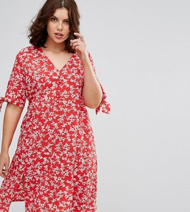 Read more about Asos curve wrap midi dress in red floral print - red multi