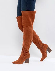 Read more about Asos koi suede over the knee boots - rust