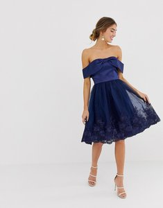 Read more about Chi chi london off shoulder midi dress with bow front and premium lace detail - navy