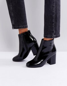 Read more about New look patent round toe heeled boot - black