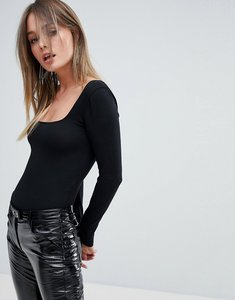 Read more about Miss selfridge long sleeved square neck body - black