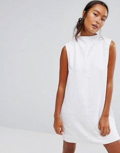 Read more about Waven ditte denim high neck shift dress - white