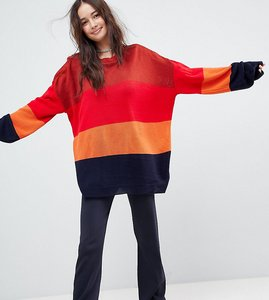 Read more about Rokoko oversized crew neck jumper in stripe - multi